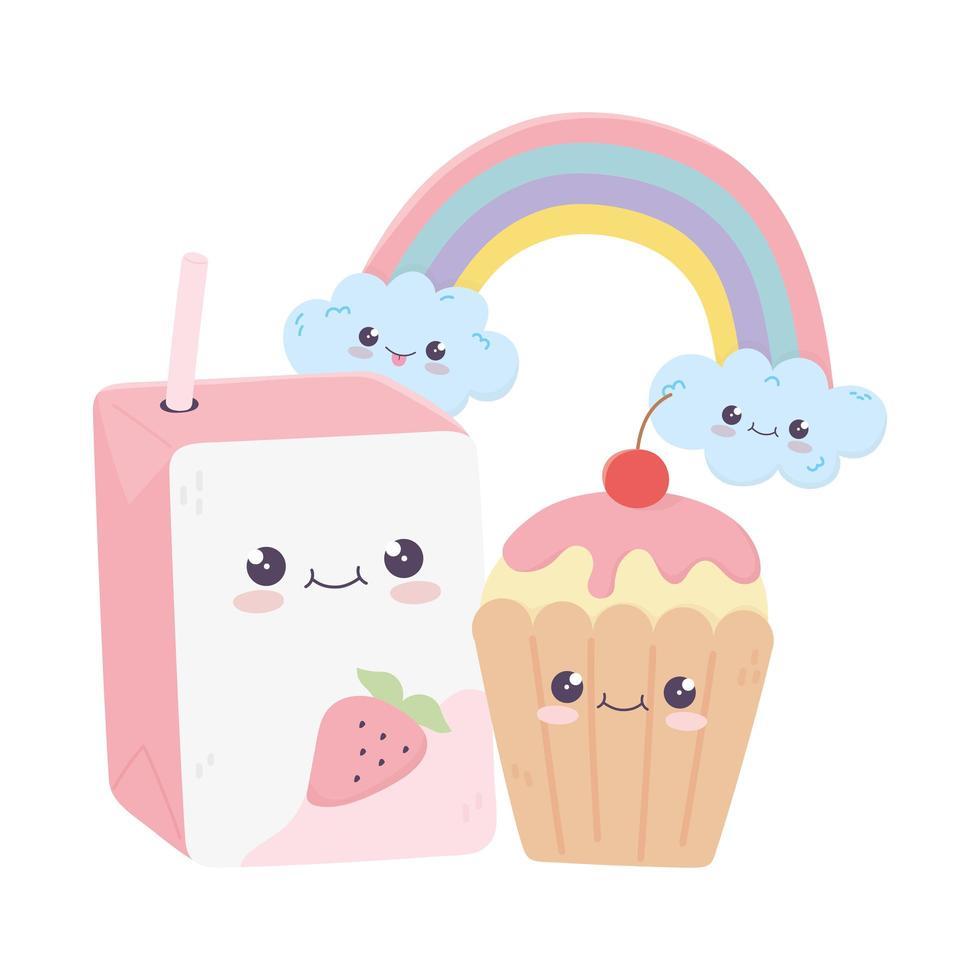 joli personnage de dessin animé kawaii arc-en-ciel de jus et cupcake vecteur