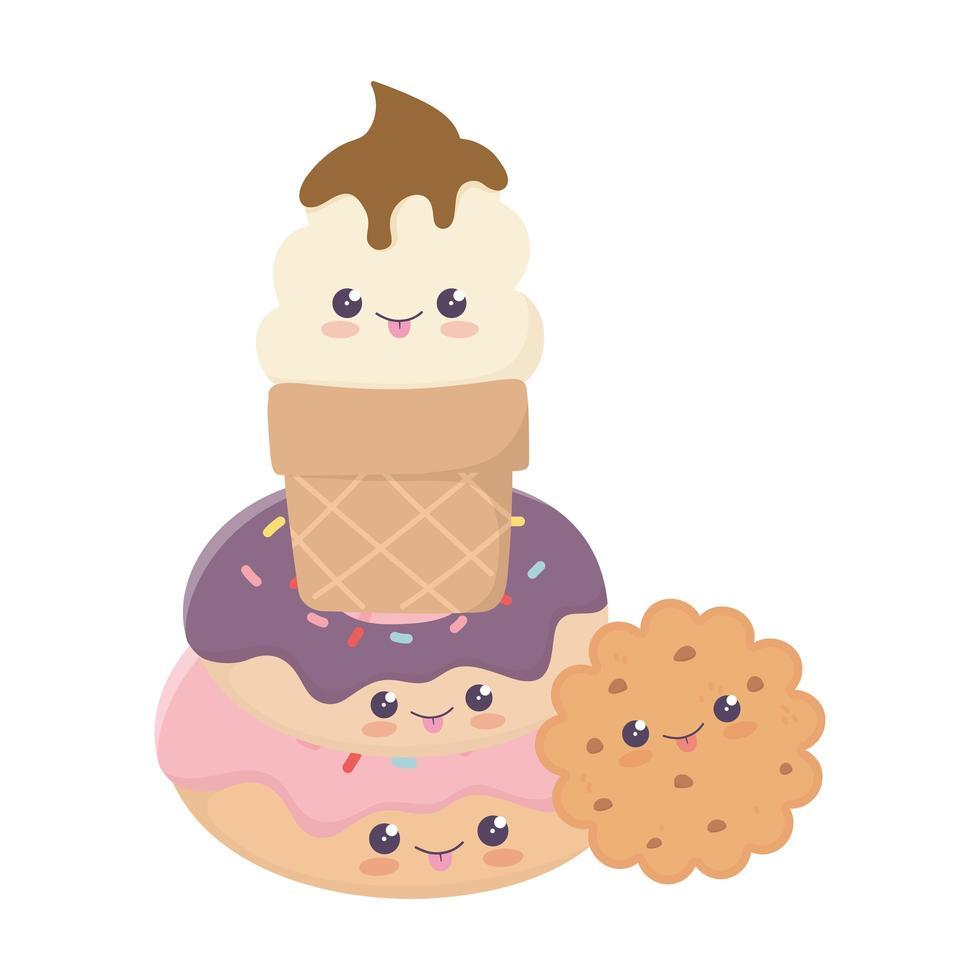 mignon personnage de dessin animé kawaii avec des biscuits beignets sucrés vecteur