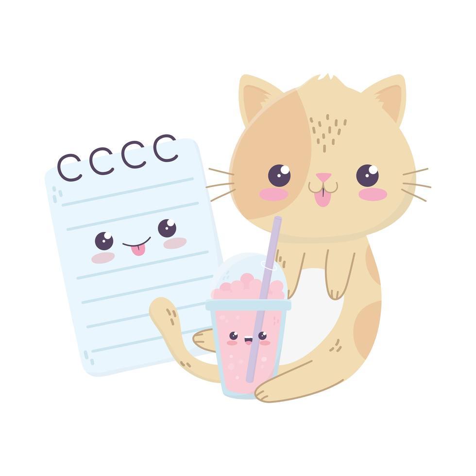 Adorable personnage de dessin animé kawaii de lait frappé de chat et de bloc-notes vecteur