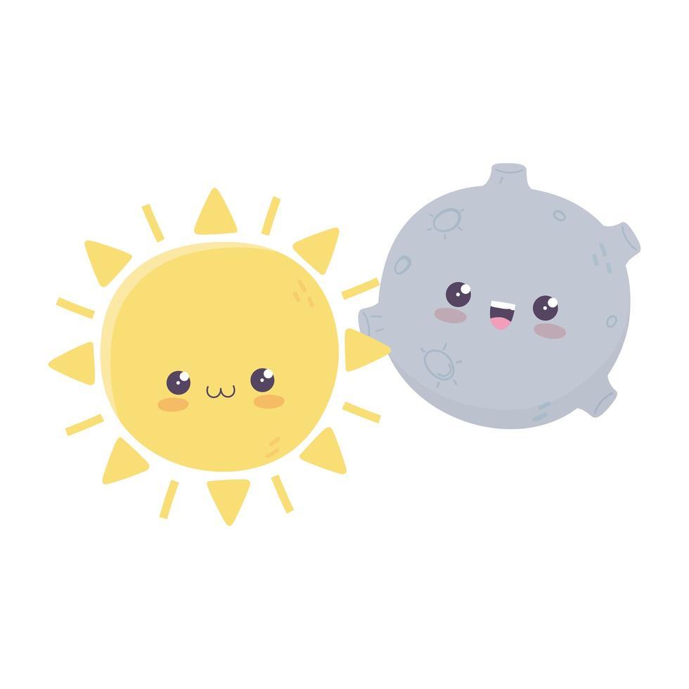 personnage de dessin animé mignon soleil lune kawaii vecteur