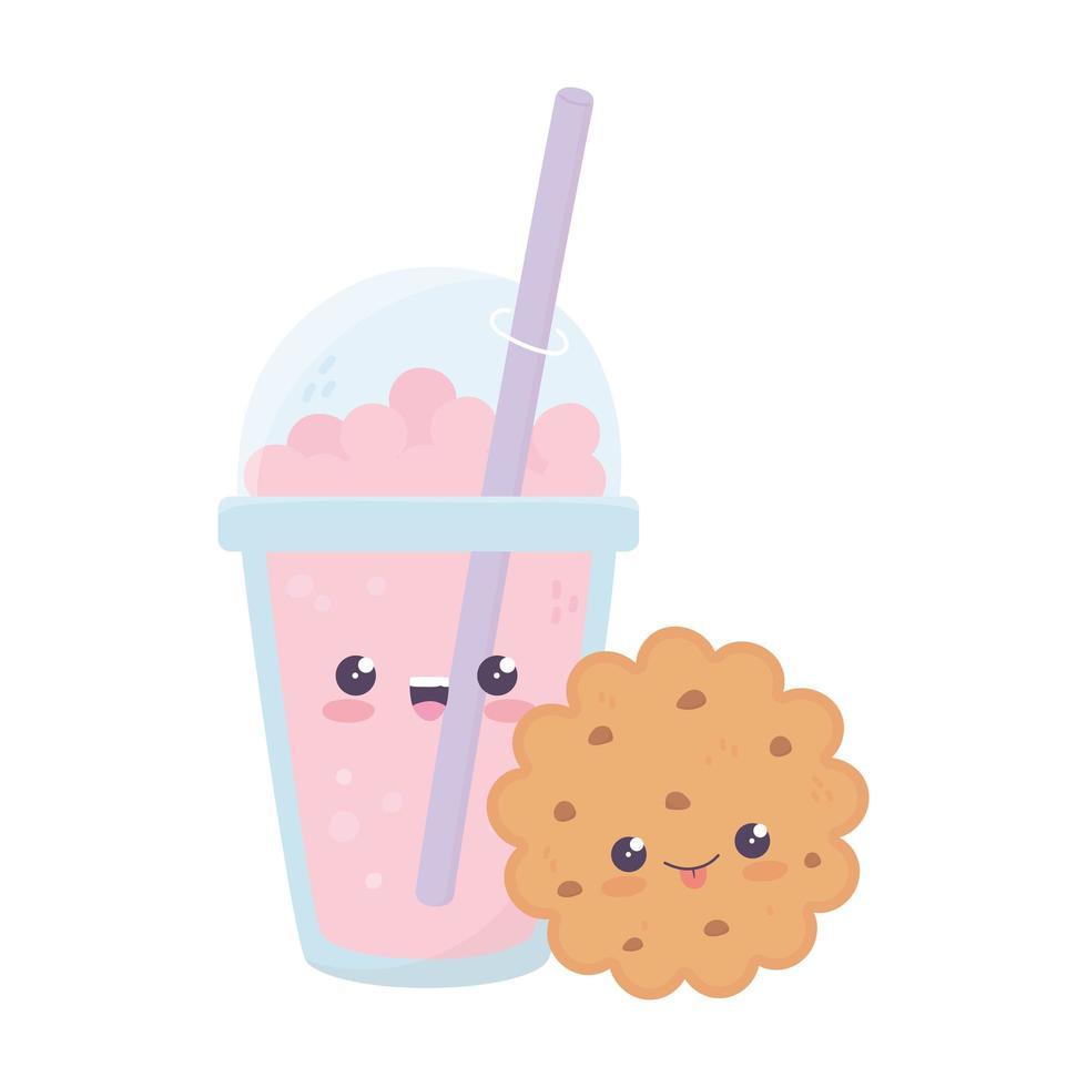 Personnage de dessin animé mignon cookie et milkshake kawaii vecteur