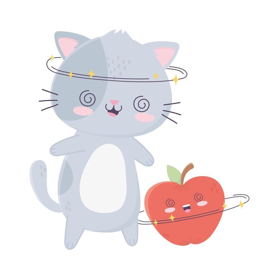 Personnage de dessin animé mignon chat joyeux et pomme kawaii vecteur