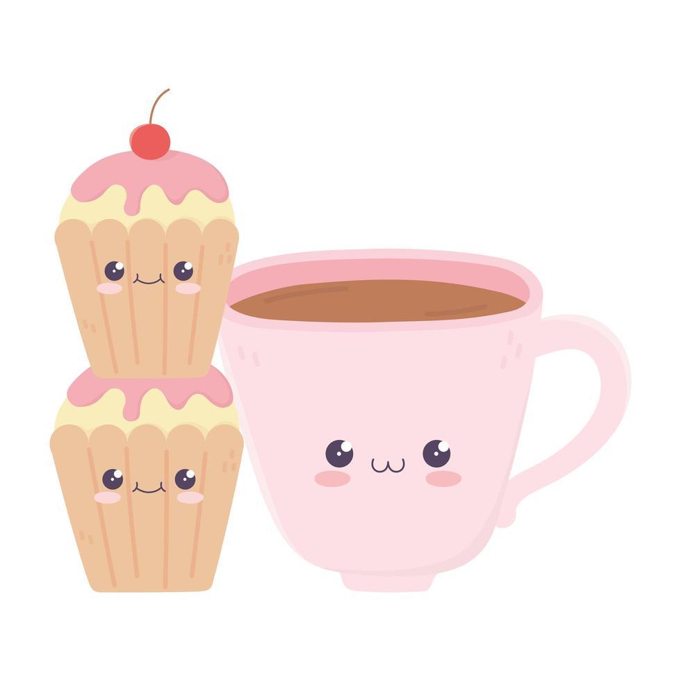mignon personnage de dessin animé kawaii tasse à café vecteur