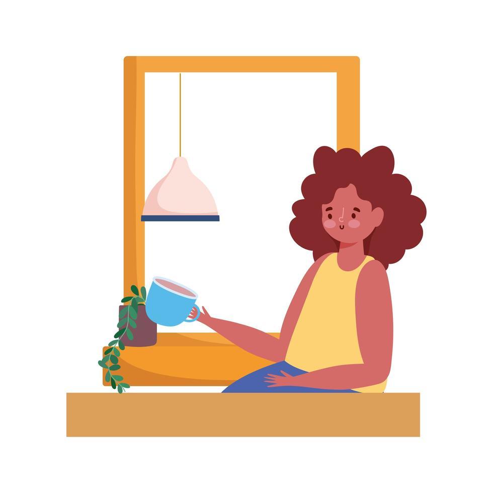 femme, café buvant, dans, fenêtre, seul, dessin animé vecteur