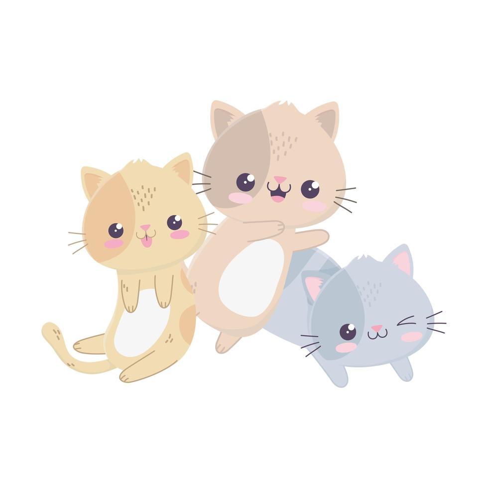mignon petits chats bonjour personnage de dessin animé kawaii vecteur