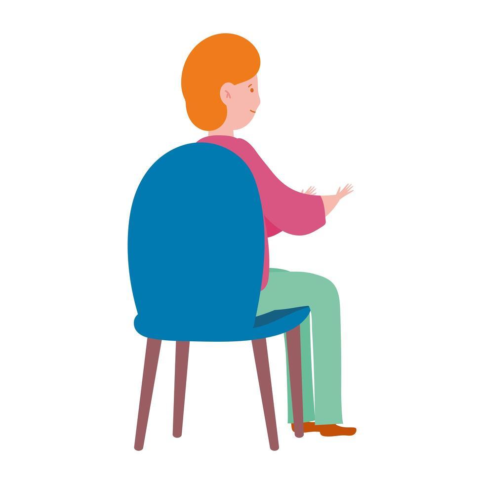 personnage de jeune homme assis sur une chaise design icône isolé vecteur