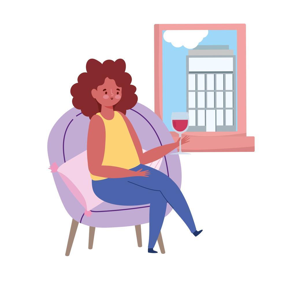 restaurant distance sociale, femme avec verre de vin regardant la fenêtre garder une distance de sécurité, prévention coronavirus covid 19 vecteur