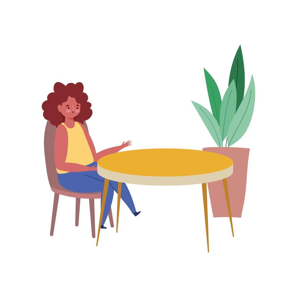 femme assise à table, restaurant garder la distance, conception isolée vecteur