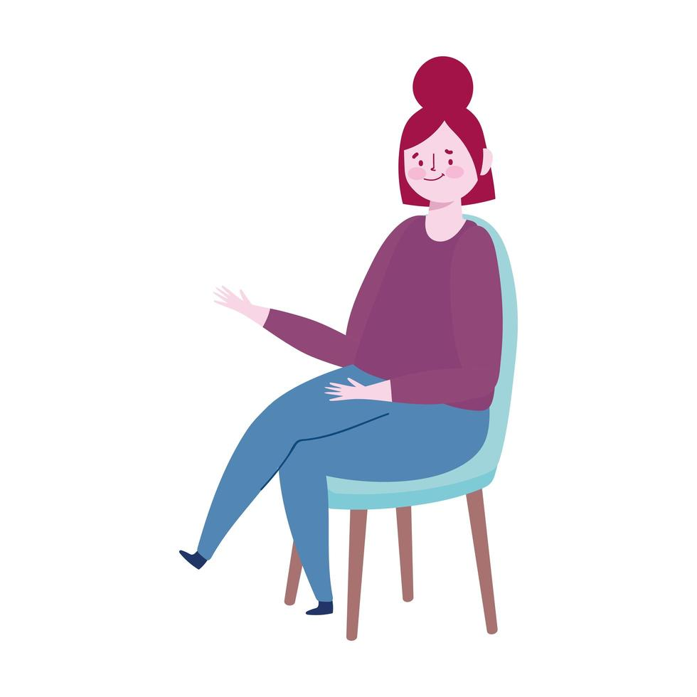 jeune femme, séance, sur, chaise, dessin animé, isolé, icône, conception vecteur