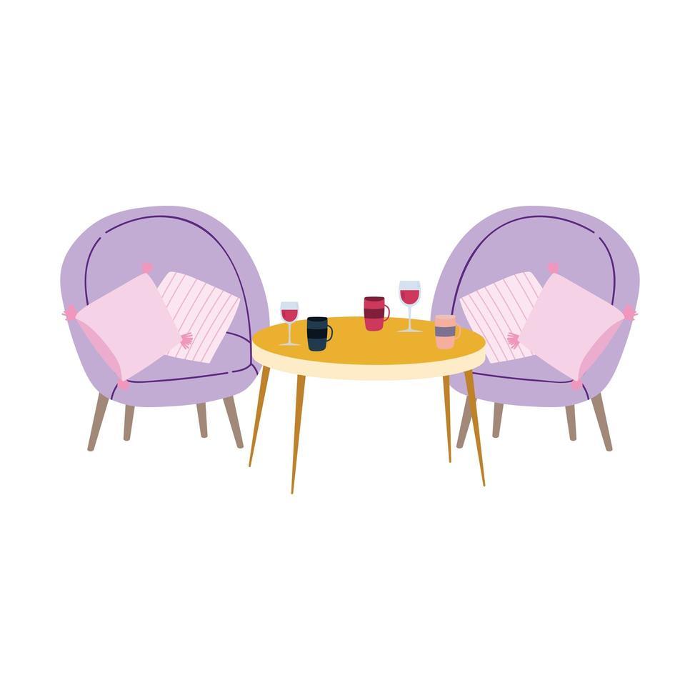 restaurant ou une table de coussin de chaise de café avec des tasses à café de vin vecteur