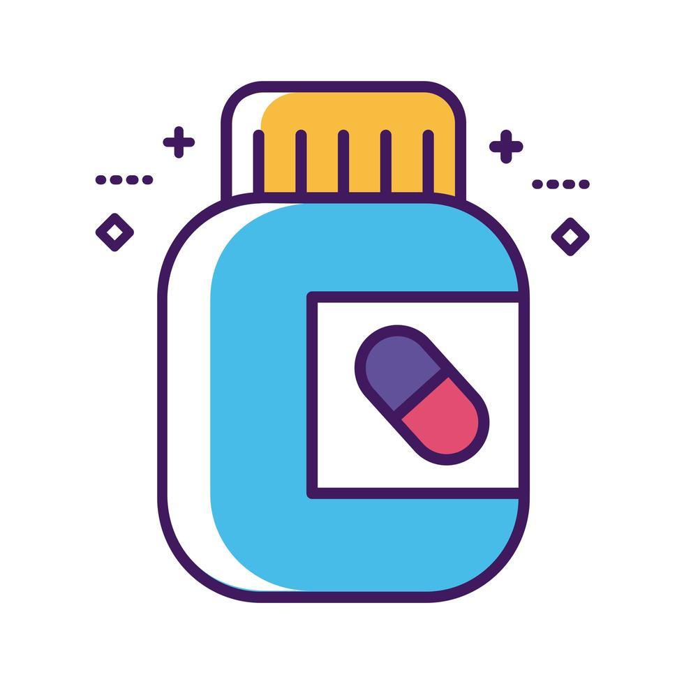 ligne de médicament de bouteille de médicament et style de remplissage vecteur