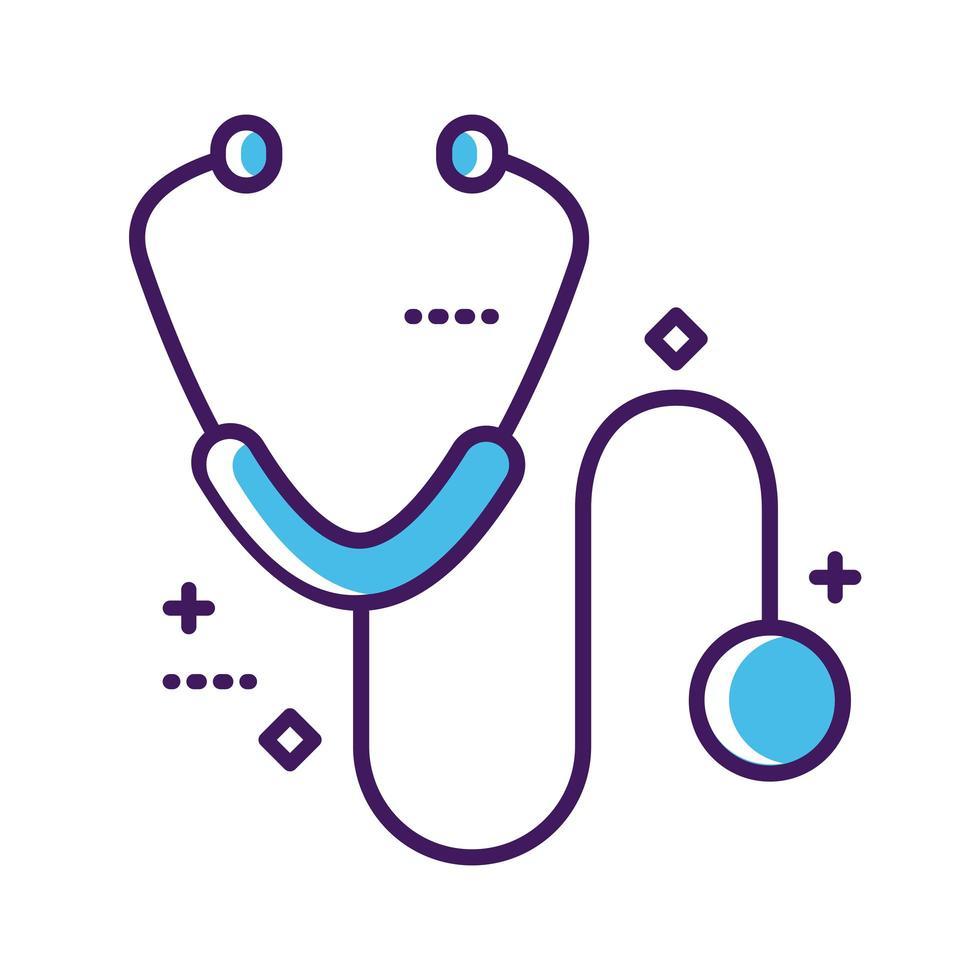 ligne d & # 39; outil de stéthoscope médical et style de remplissage vecteur