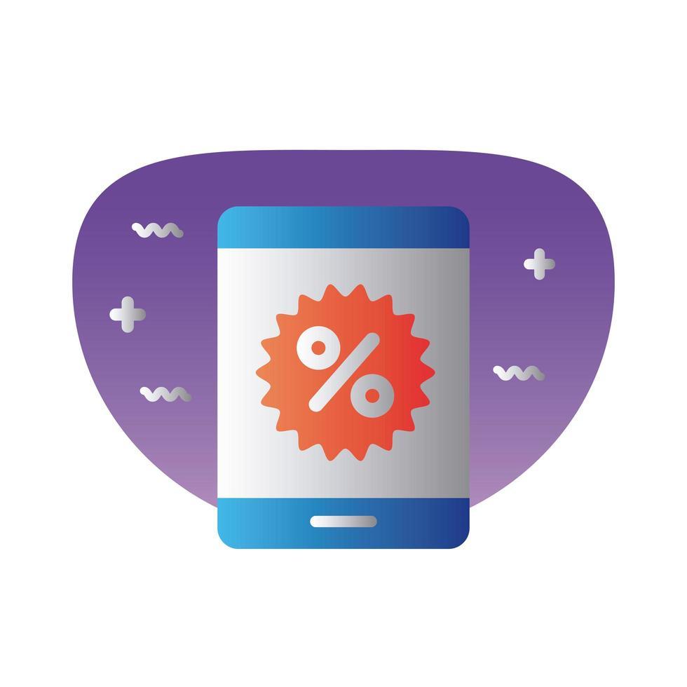 smartphone avec icône de style dégradé symbole pourcentage vecteur