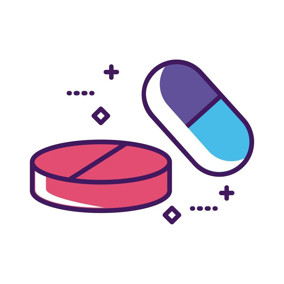 gélules de médicaments et pilules ligne de médicaments et style de remplissage vecteur