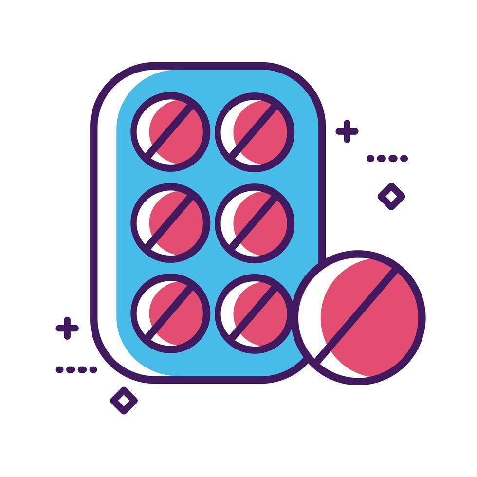 les pilules de médecine scellent la ligne de médicament et remplissent le style vecteur
