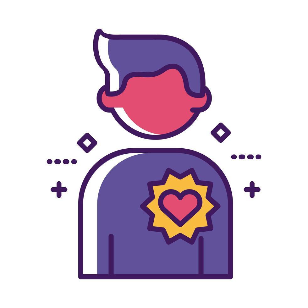 figure humaine avec ligne de coeur et style de remplissage vecteur