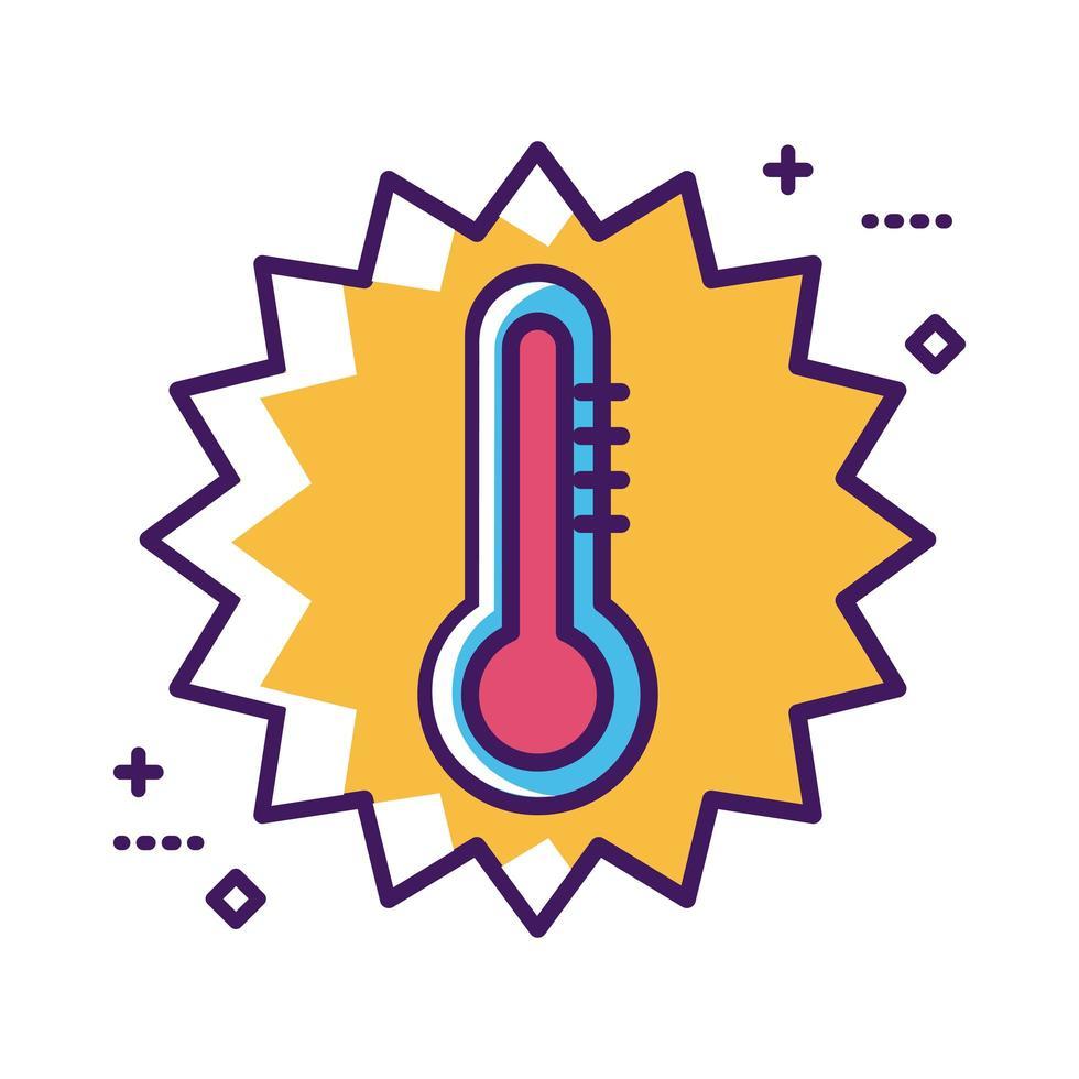 ligne d'outil de thermomètre médical et style de remplissage vecteur