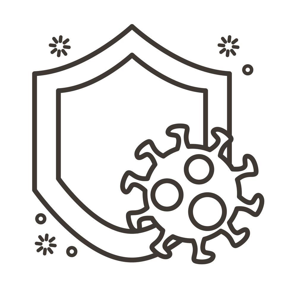 particule de virus covid19 dans le style de ligne de bouclier vecteur