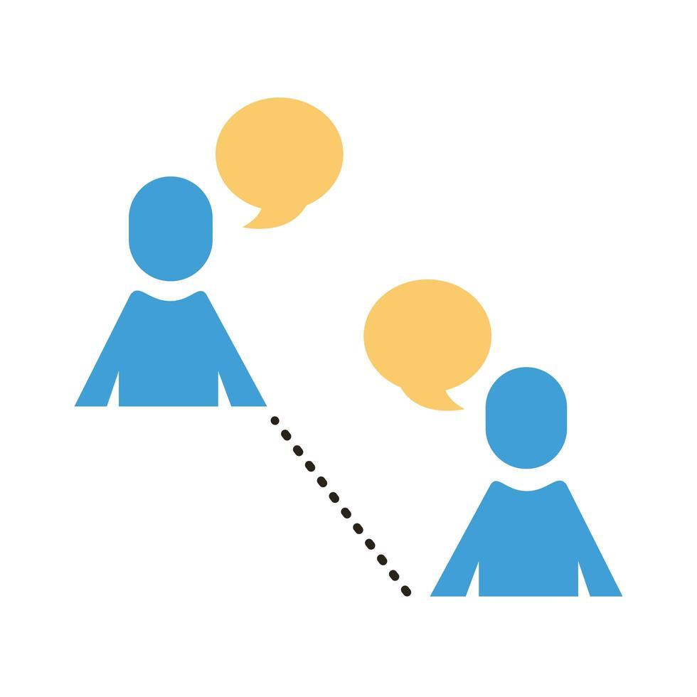 silhouettes humaines parlant avec un style plat à distance sociale vecteur