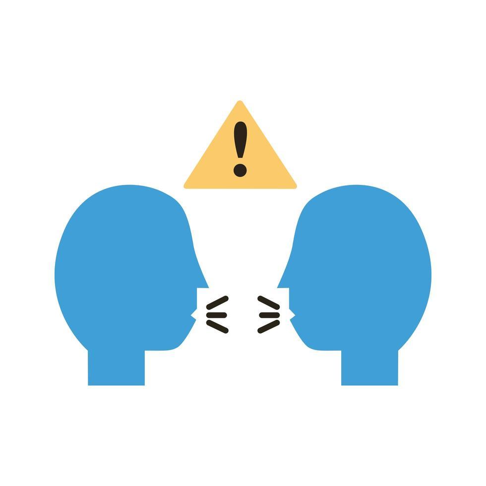 profils humains avec signal d'alerte pour le style plat de distance sociale vecteur