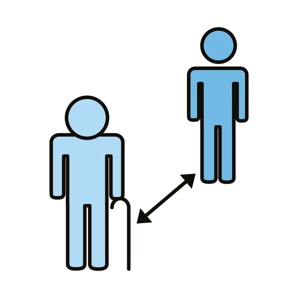 vieux humains avec ligne de distance sociale et icône de style de remplissage vecteur