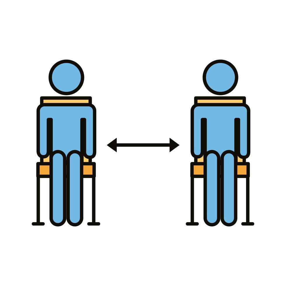 figures humaines dans des chaises avec ligne de distance sociale et style de remplissage vecteur