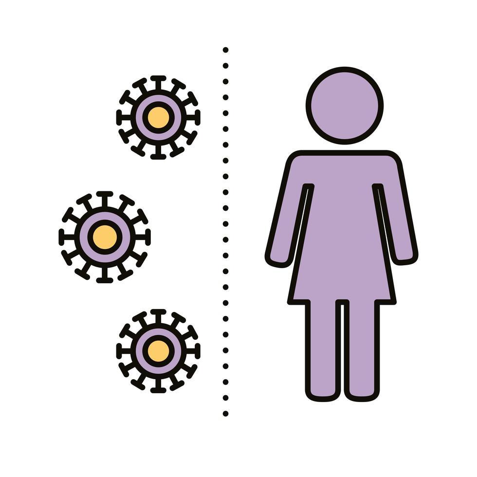 figure humaine féminine avec ligne sociale de distance de particules covid19 et style de remplissage vecteur