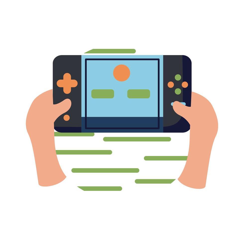 mains avec console de jeux vidéo style plat icône vector design