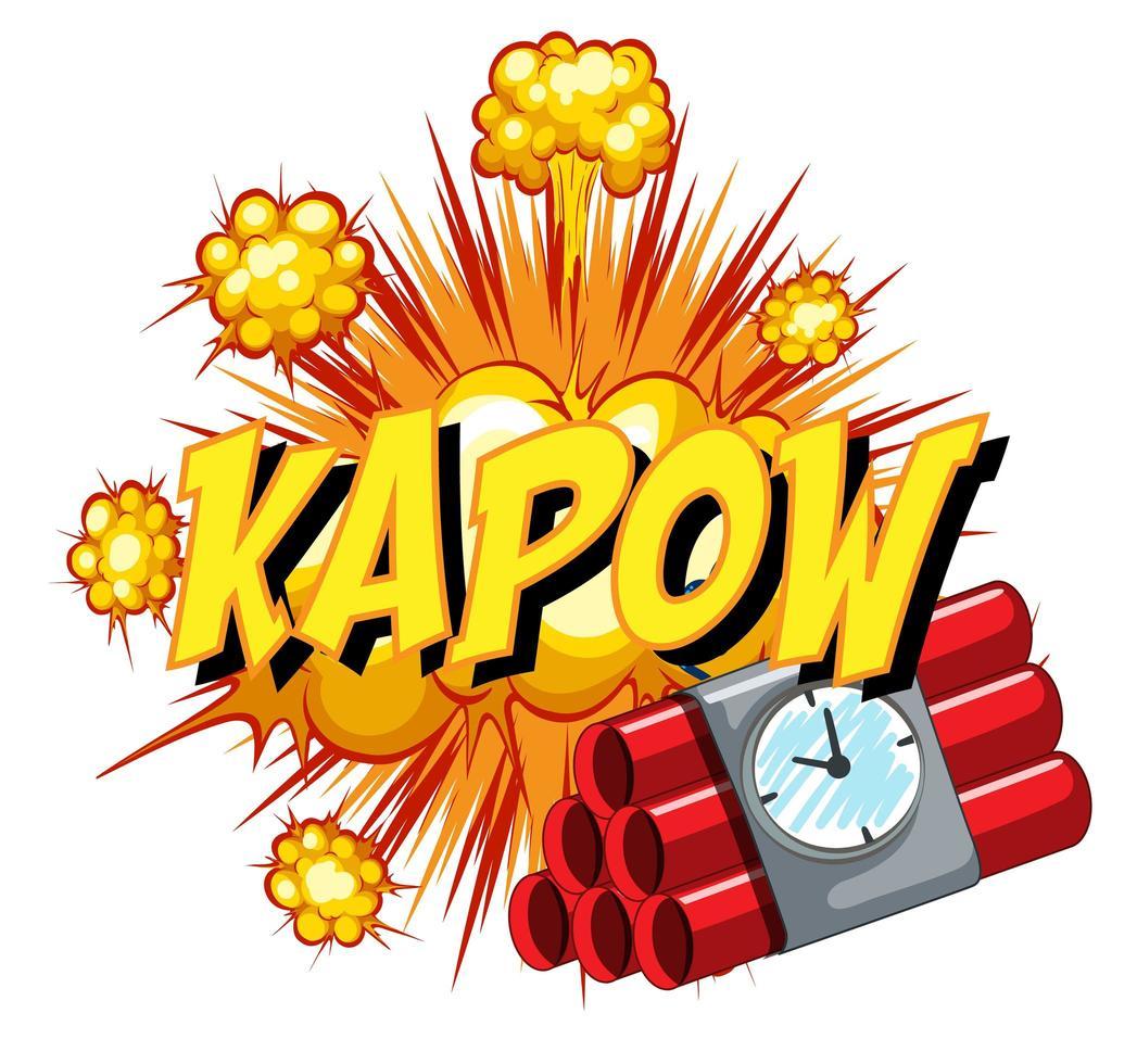 bulle de dialogue comique avec texte kapow vecteur