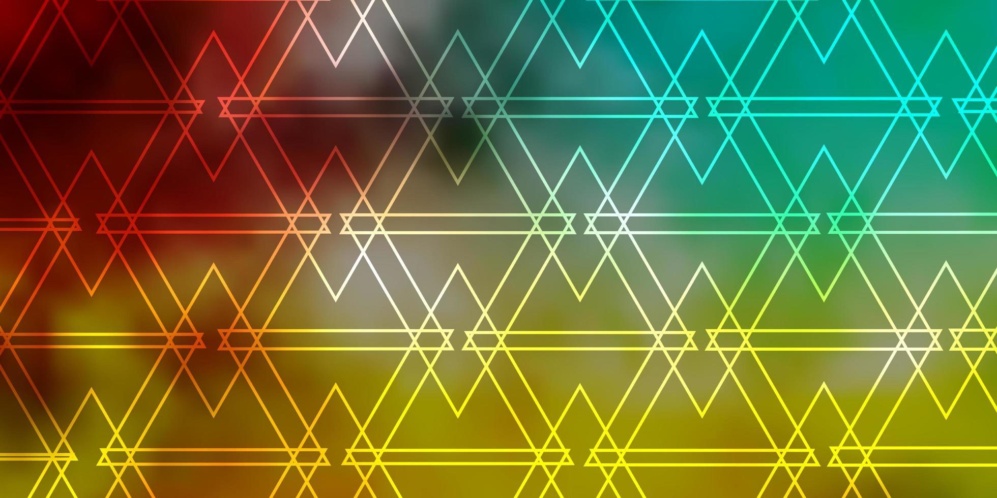 fond de vecteur multicolore clair avec des lignes, des triangles.
