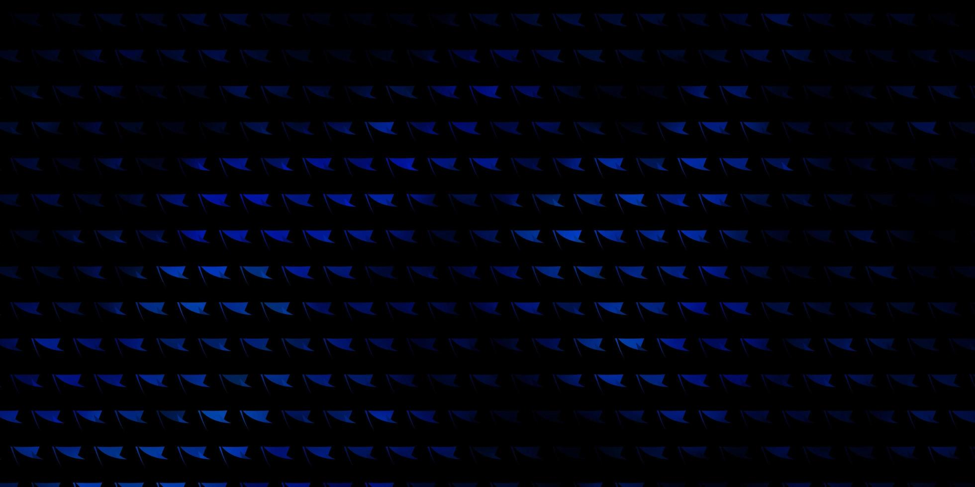 toile de fond de vecteur bleu foncé avec des lignes, des triangles.