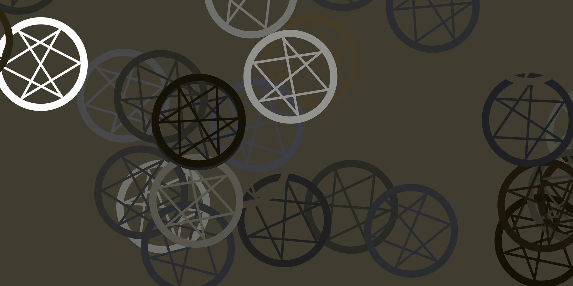 modèle vectoriel gris clair avec des signes ésotériques.