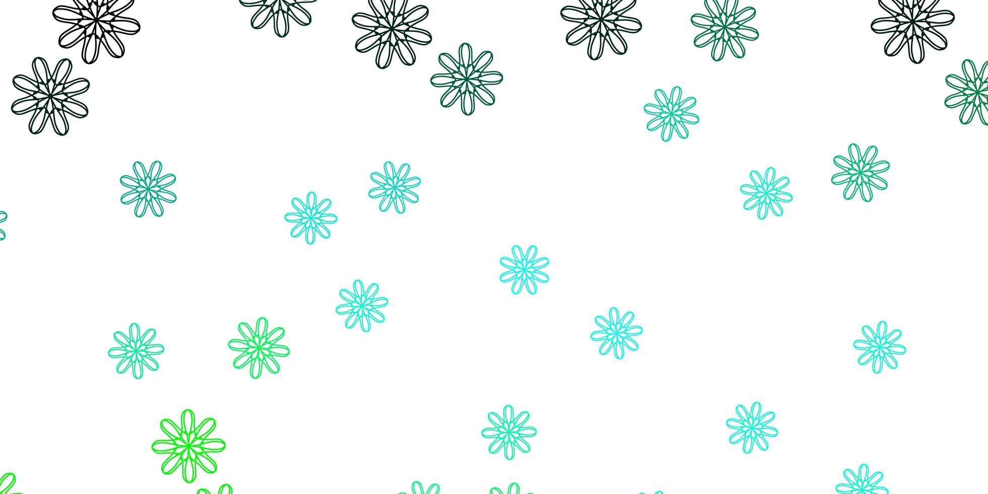 texture de doodle vecteur vert clair avec des fleurs.