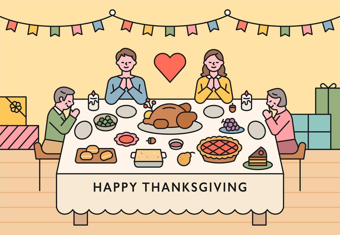 les familles sont assises autour d'une table pour l'action de grâce et la prière vecteur