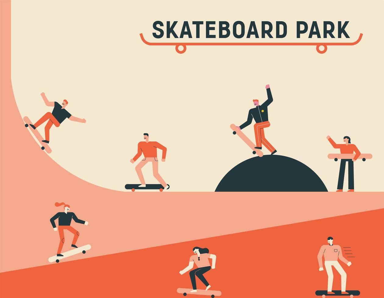 affiche de parc de skateboard vecteur