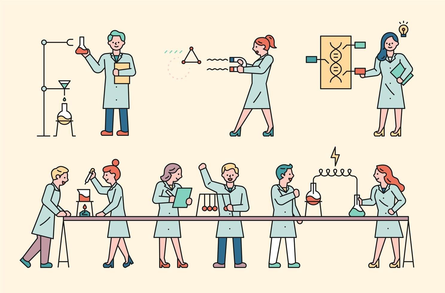 scientifique en laboratoire vecteur