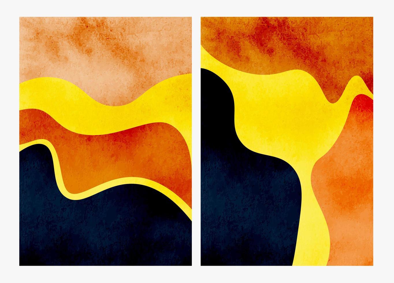 ensemble d'arrière-plans aquarelle abstraite peints à la main vecteur