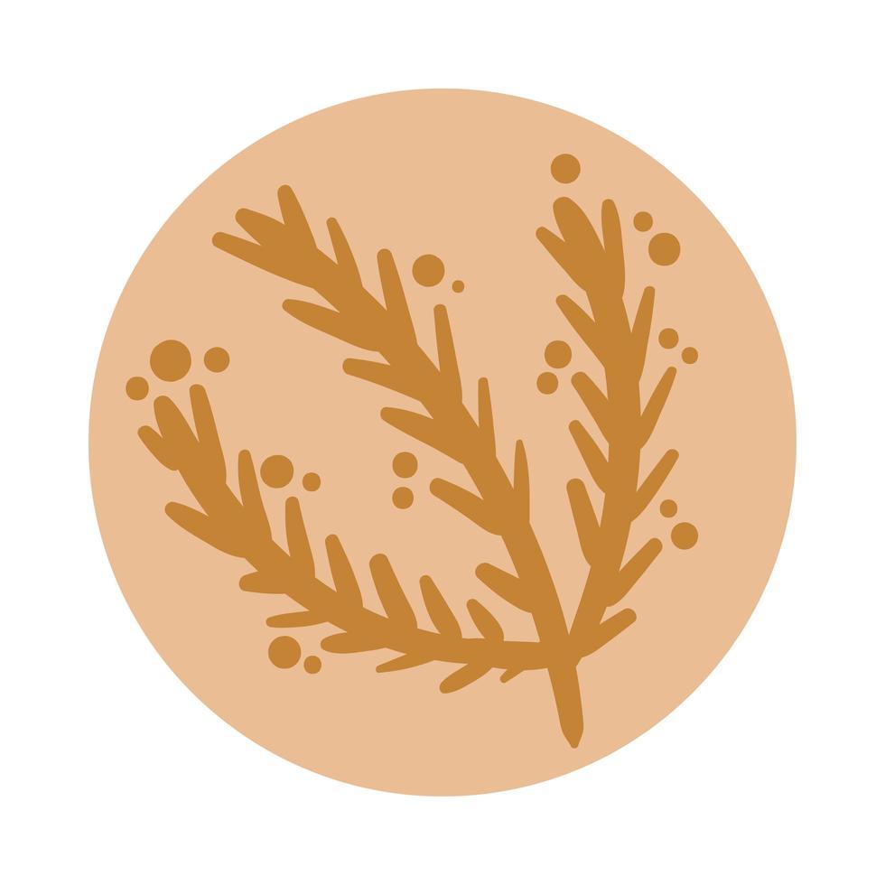 branche avec des feuilles style dessiné à la main boho vecteur