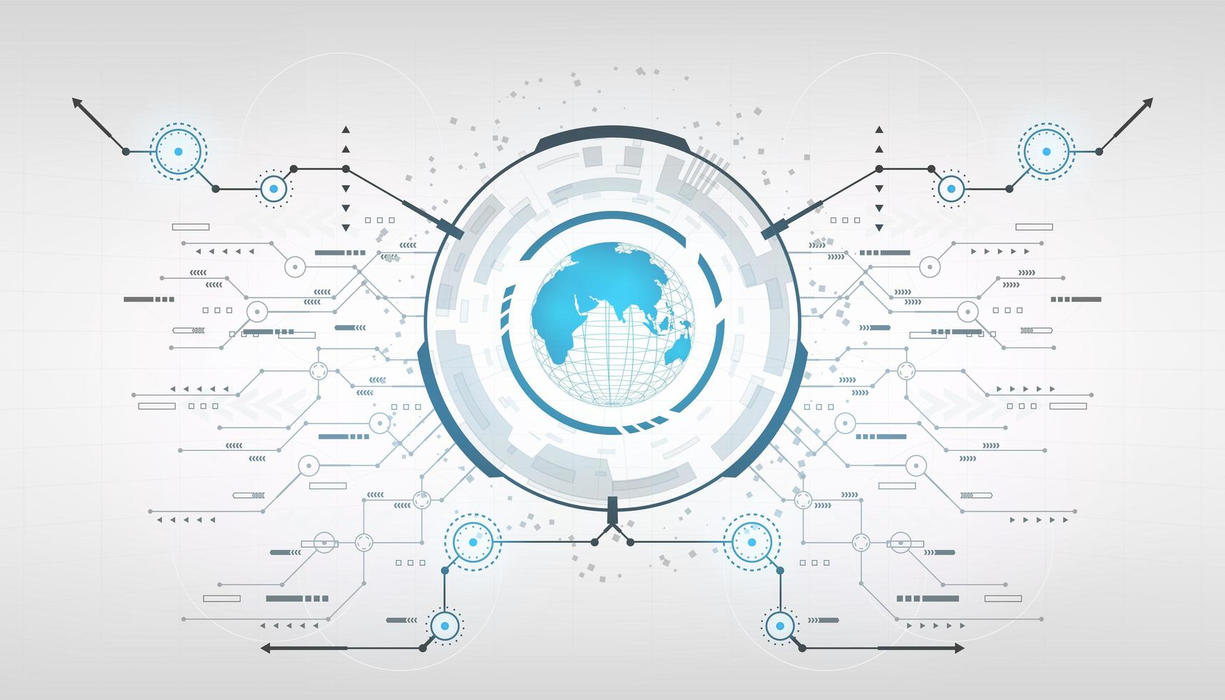 globe terrestre futuriste abstrait avec système de cercle connecté avec des flèches de ligne vecteur