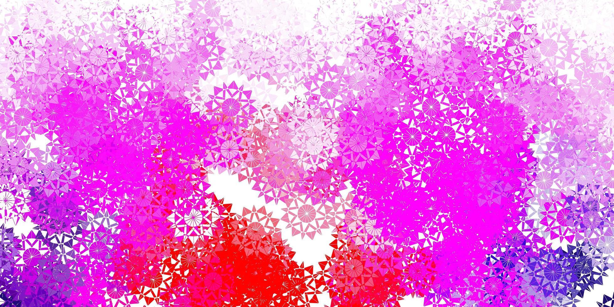 modèle vectoriel violet clair, rose avec des flocons de neige de glace.