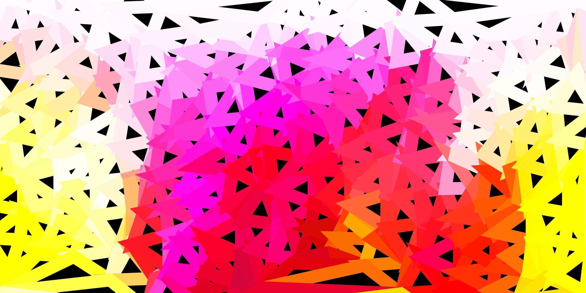 modèle de mosaïque triangle vecteur rose clair, jaune.