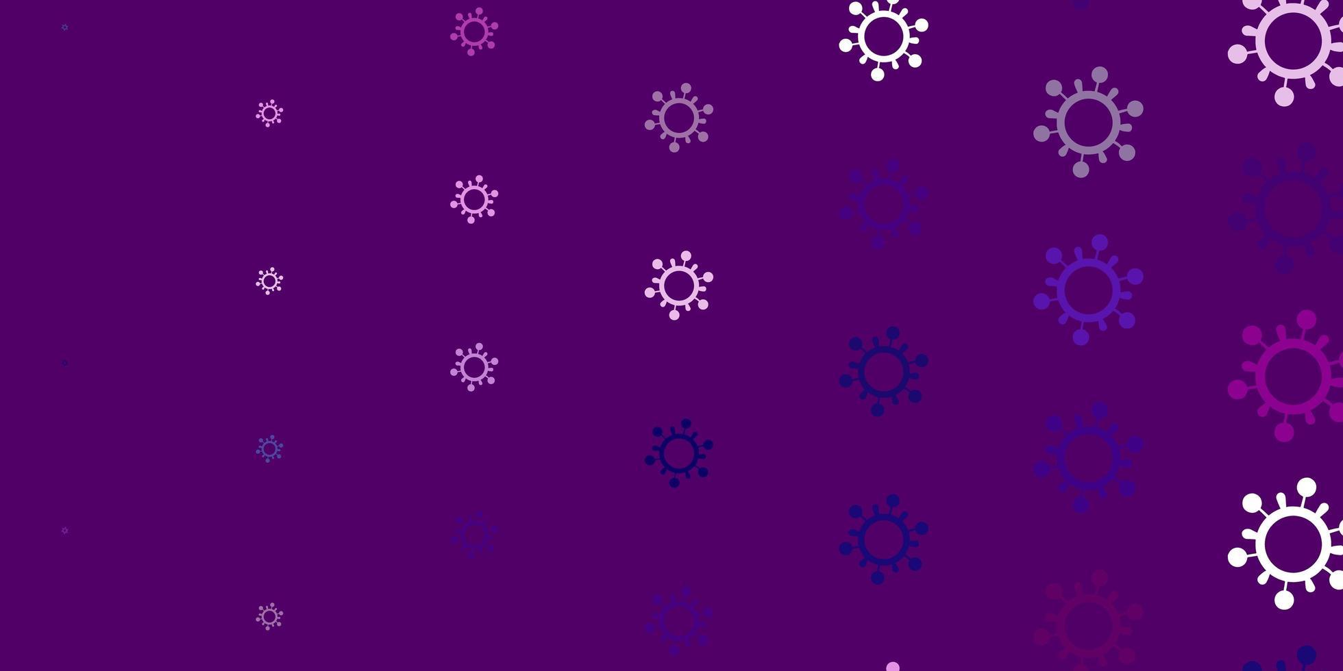 toile de fond de vecteur rose clair avec des symboles de virus.