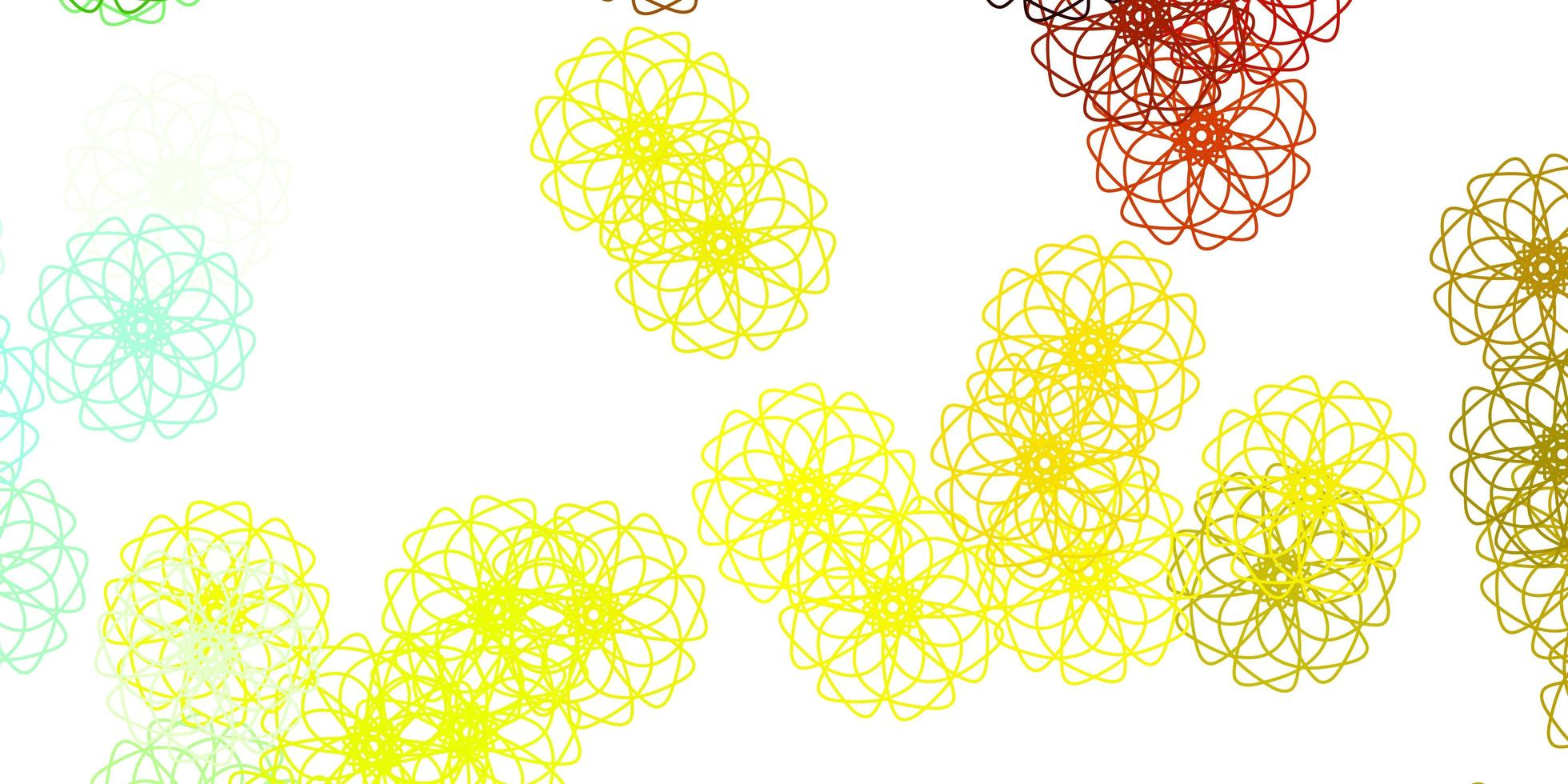 toile de fond naturel vecteur vert clair, jaune avec des fleurs.
