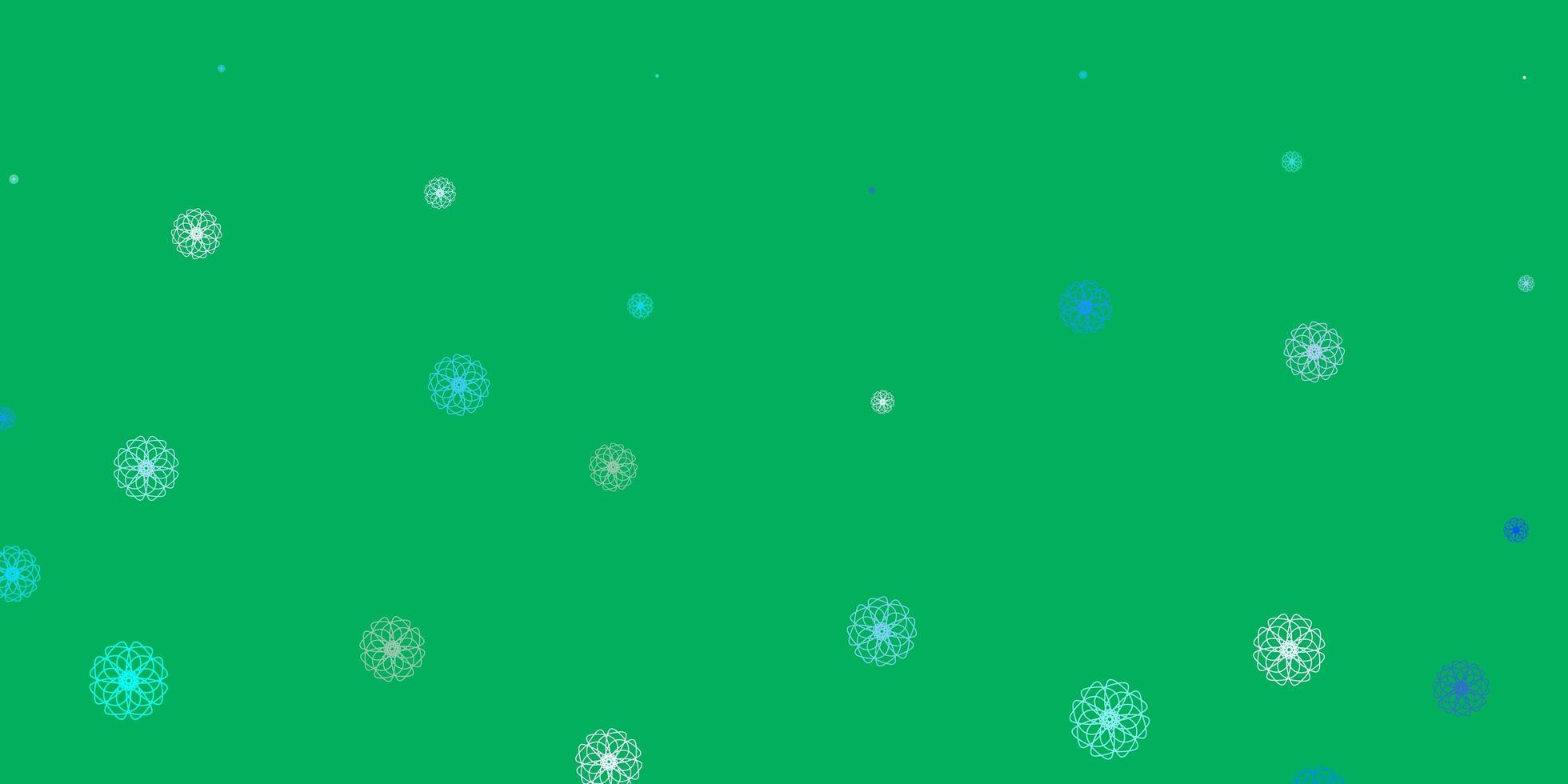 oeuvre naturelle de vecteur bleu clair, vert avec des fleurs.