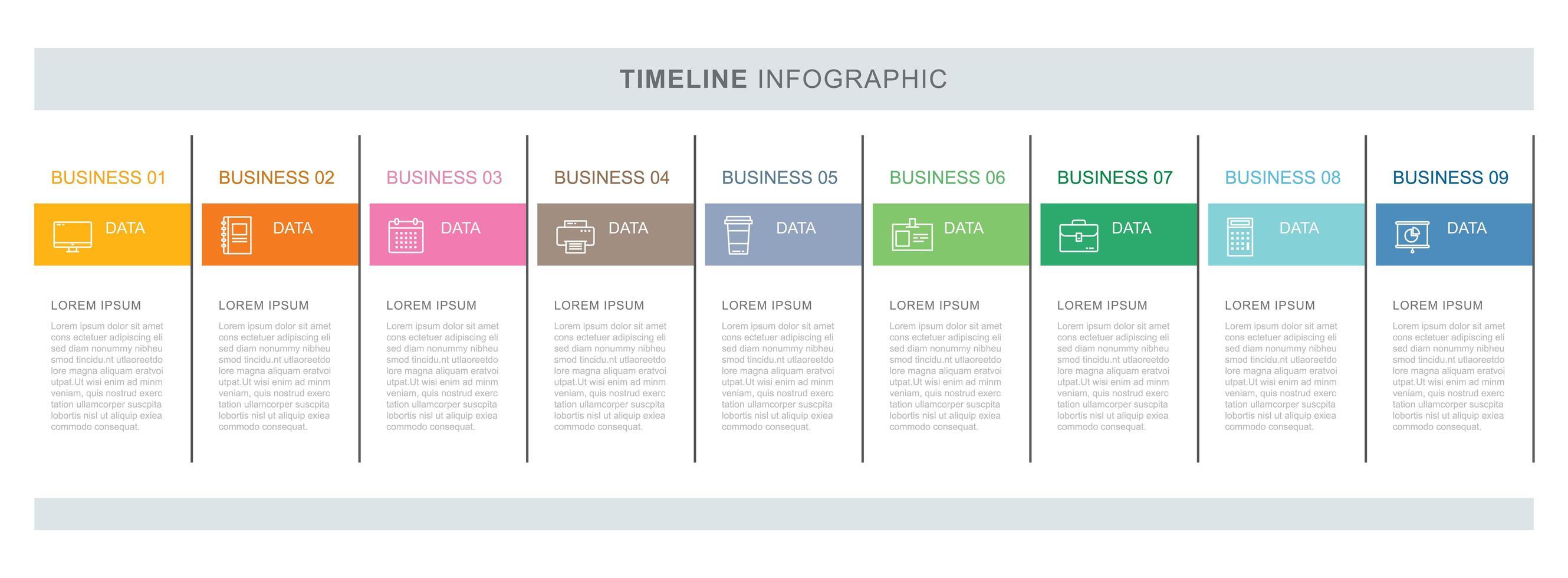 9 modèle d'infographie d'entreprise de données avec un design de ligne mince vecteur