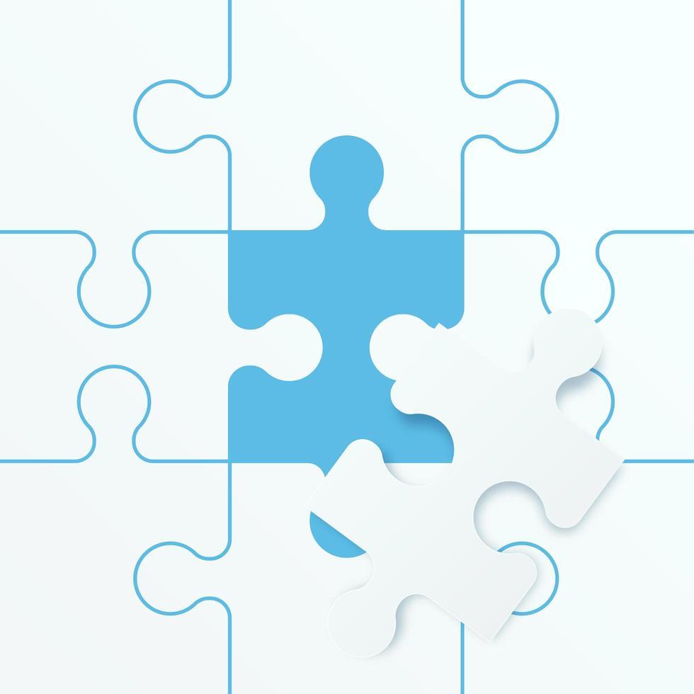 jeu de puzzle de puzzle. concept de travail d'équipe commercial. illustration vectorielle vecteur
