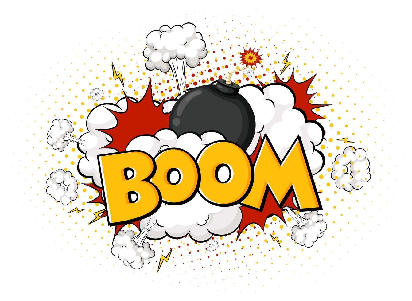 bulle de dialogue comique avec texte boom vecteur