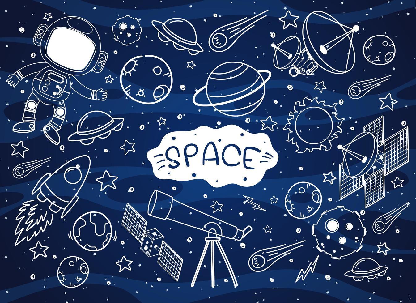 ensemble de doodle élément spatial isolé sur fond de galaxie vecteur