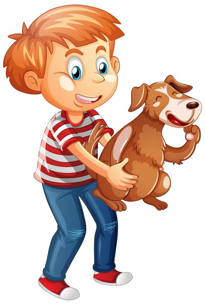 garçon jouant avec un chien isolé sur fond blanc vecteur