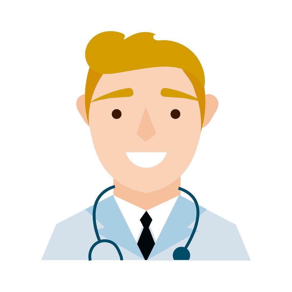 médecin avec style plat de caractère stéthoscope vecteur